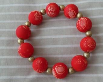 Red Swirl Beaded Stretch Bracelet