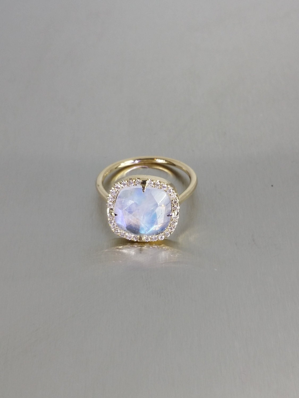 moonstone diamond moonstone wedding ring sets 14 Karat Yellow Gold Rainbow Moonstone Diamond Ring 0 30ct