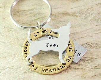 Chihuahua  dog tag personalized  dog tag 3 piece Pet tag Pet Id Tag Hand stamped  custom Made with your Pets Name/phone number