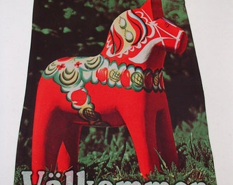 "Garden Flag 12"" x 17"" - Swedish Dala Horse with Welcome or Valkommen"