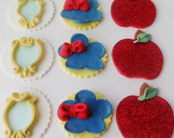 1 Dozen Snow White Inspired Fondant Cupcake Toppers