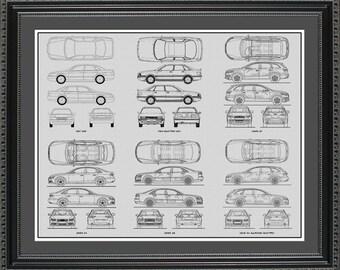 Audi Blueprint Collection Drawing Art Car Auto Gift BAUDI2024