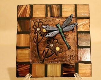 Dragonfly Ceramic Decorative Tile Handmade Home Decor