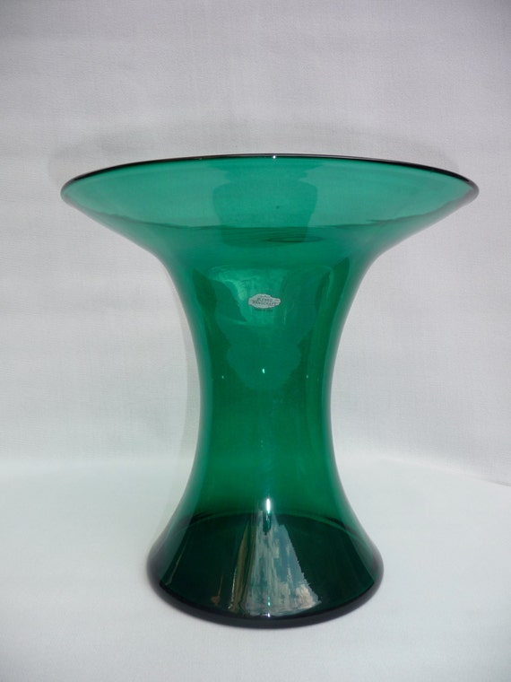 Large Vintage Teal Blenko Glass Handblown Vase 1970s