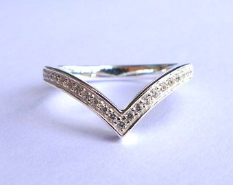 Wishbone Ring in Solid Sterling Silver&CZ All Sizes (3 to16)
