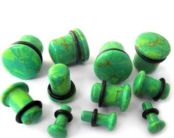 "Gutter Green Stone Plugs - Single Flare (8G - 5/8"") Sold In Pairs - New!"