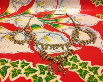 Vintage heavy silver metal dangling necklaces