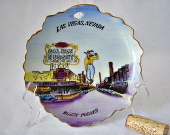 Mid Century Old Vegas Souvenir Plate, Vegas Memorabilia Souvenir, Golden Nugget, Las Vegas, Wall Hanging Vegas Plate, Man Cave, Poker Night