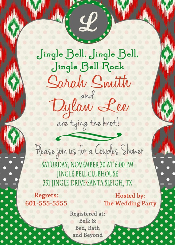 items similar to ikat christmas bridal shower invitation With christmas wedding shower