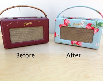 Roberts Radio Re-covering Service - Professional Re-covering in Fabrics Including Genuine Harris Tweed and Rare Cath Kidston Oilcloths
