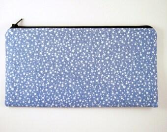 Blue Polka Dot Zipper Pouch, Pencil Pouch, Make Up Bag, Gadget Bag