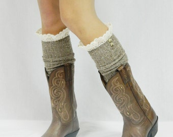 Boot Socks with Lace Top - Oatmeal Tweed