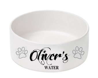 Personalized Dog Bowl - Ceramic Dog Bowl - Puppy Dish - Food and Water Dishes - (NC)