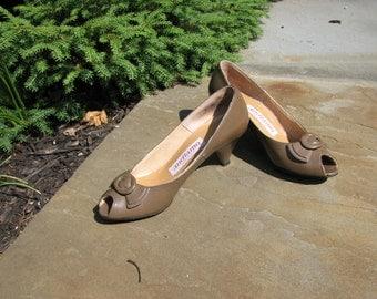 Vintage Shoes - Size 5 shoes - Andiamo Shoes - Peep toe shoes
