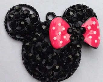 48mm Minnie Mouse Rhinestone Pendant Chunky Necklace Beads