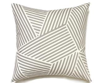 Grey Pillow, Geometric Pillow Cover, 18x18 Pillow Cover, Decorative Pillows, Modern Pillow Covers, Nate Berkus Ondine Paramount Quarry