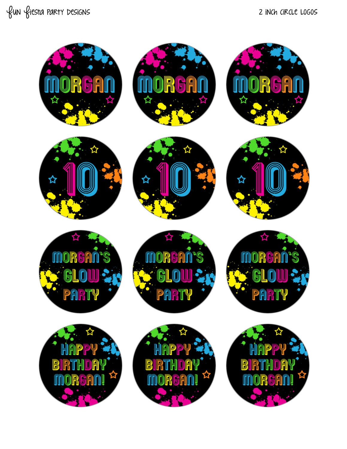Neon Glow Party Printables Pack