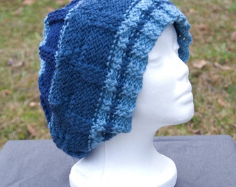 Blue Slouchy Beanie, Knit Hat