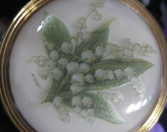 Lily of The Valley in White Czech Glass Button 32mm