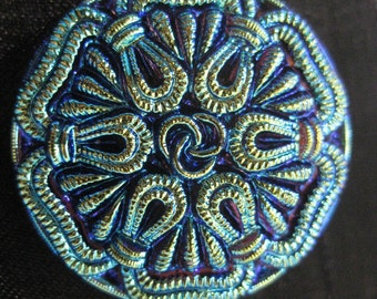 Knotted Rope Celtic Braided Aurora Czech Glass Button 27mm