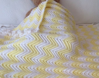 Yellow & White Crib Blanket Hand Crocheted Baby Afghan or Toddler Throw  Free Ship, Baby Shower Gift Nursery Decor Photo Prop, Made  in  USA