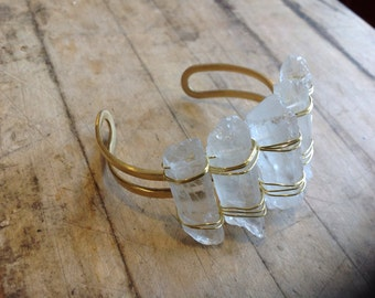Wire-wrapped Quartz Crystal Point Bracelet