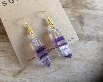 Fluorite Point Earrings