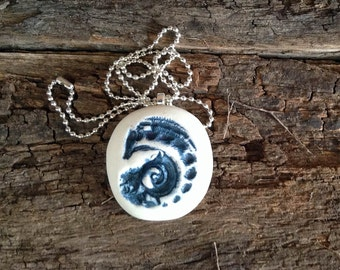Handmade Ceramic Pendant Necklace - Cobalt Blue and White Matt with silver plated chain