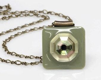 Swarovski Solaris Crystal Pendant, Sage Green, Resin Pendant, Statement Pendant, Handmade