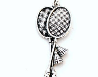 Badminton Rackets Necklace in Fine English Pewter, Hand Made, Gift Boxed .