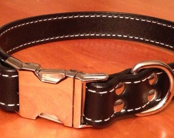 The Oxford - Black Leather Snap Dog Collar (14''-16'')