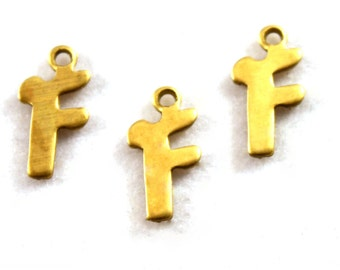 """5x Letter """"F"""" Brass Initial Charms - M071-F"""