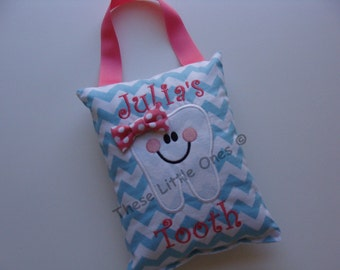 Tooth fairy pillow personalized door hanger with pocket in choice of colors