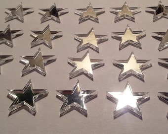 20 Star Embellishments available in 21 Colors Great for Table Confetti, Jewelry and crafts