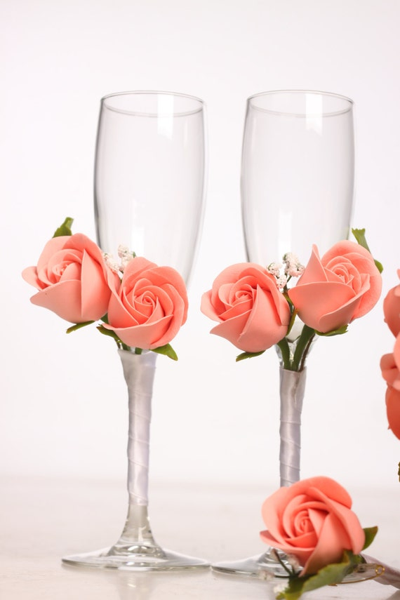 Wedding accessories, Champagne Flutes, Wedding Toasting Glasses decorated with clay flowers and ribbon, pink rose