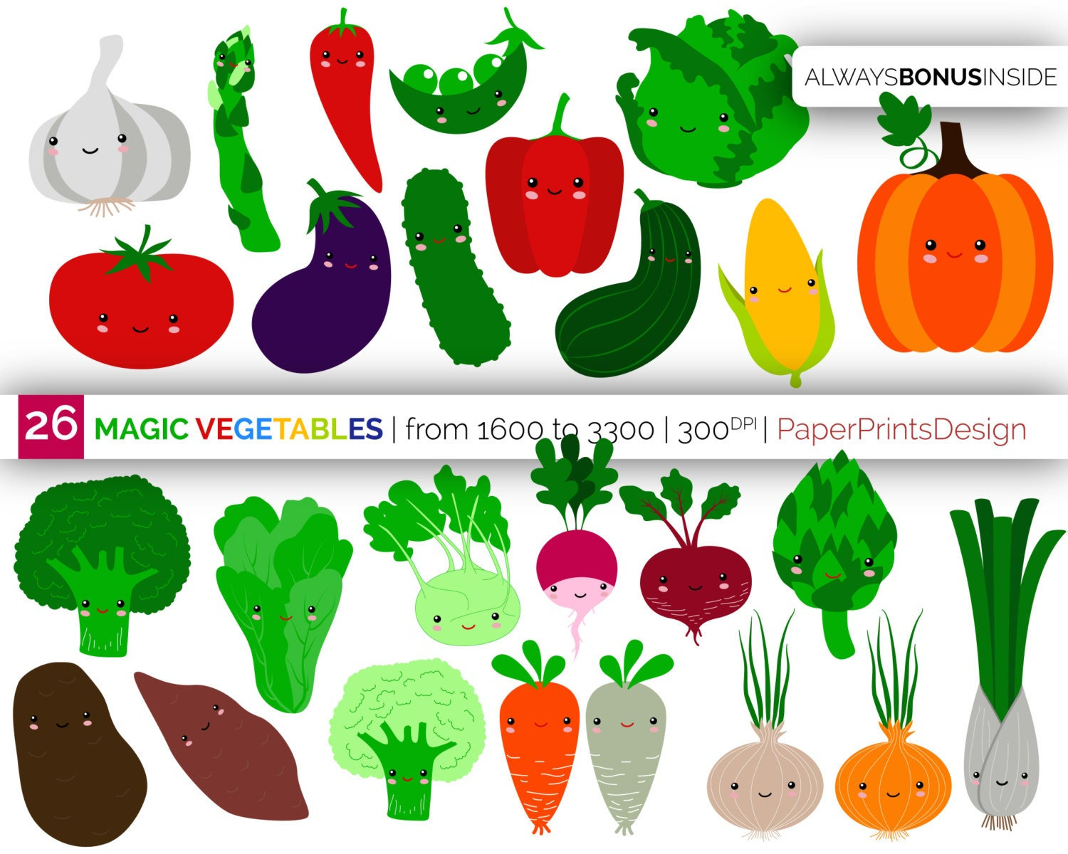 26 kawaii baby vegetables clipart, kawaii veggies, cute ...