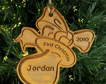 Personalized Custom Engraved Baby's First Christmas Wood Ornament