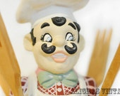 Happy CHEF Ceramic UTENSIL HOLDER With Utensils Vintage Yozie Mold