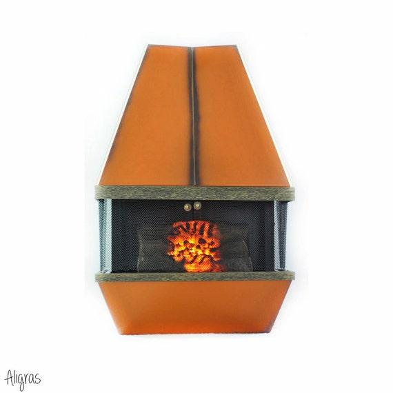 Mid Century Electric Fireplace Orange Retro 1970s Vintage Dyna