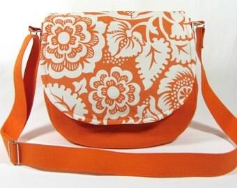 Orange messenger bag, medium size bag, cotton shoulder bag, floral purse, made in France, cross body bag