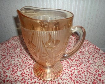Vintage Antique Jeanette Marigold Iris & Herringbone Pitcher