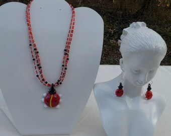 Handmade necklace with glass ladybugs pendant  # 00N17