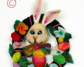 Needle Felt Easter bunny,egg,flowers,soft wool,miniature art,richly colorful decorated Easter wreath,spring decor,easter decor,gift for you.
