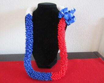 Red White and Blue Pikake Satin Hawaiian Ribbon Lei