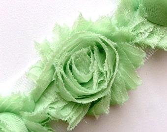 Shabby Rose Flower Trim--Mint