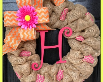 Spring Chevron Burlap Wreath with Initial- Front Door Wreath- Wedding Gift- Monogrammed Wreath- Spring Wreath
