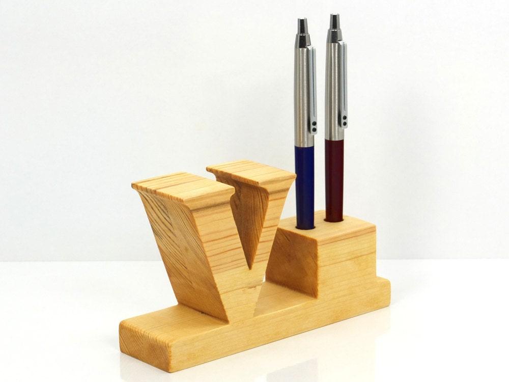 Pen Holder Personalized Wooden Desk Pen Holder With Letter