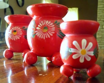 """Set of 3 Vintage Swedish Folk-Art Wood Candle Holders--Bright Red w/ White/Green/Yellow/Blue Flowers--Stamped """"Sweden""""--Original Sticker"""