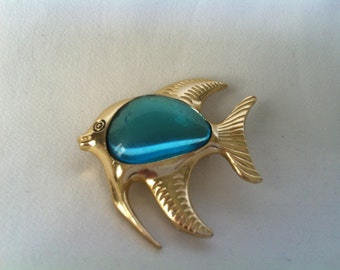 vintage Gold Tone Blue Glass Belly Fish Brooch
