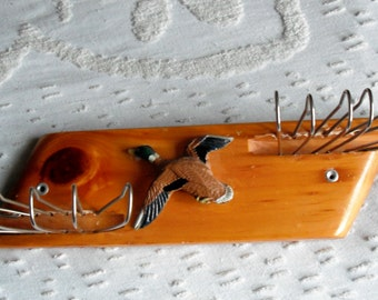 WOOD TIE RACK - Vintage Made of Wood - Sporting a Flying Duck - Great for the Guy in Your Life